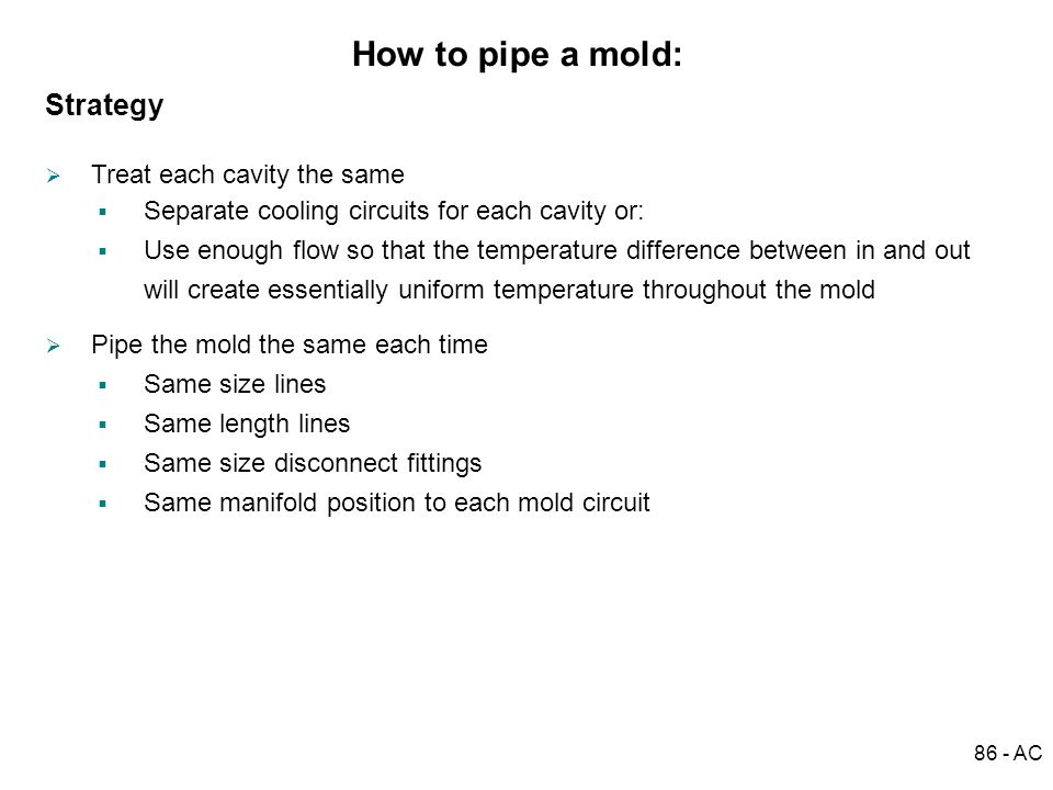 How to pipe a mold: Strategy Treat each cavity the same