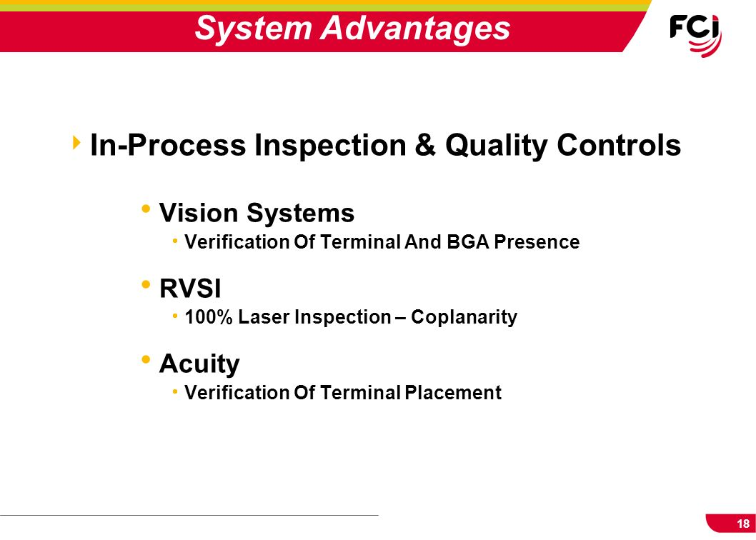 System Advantages In-Process Inspection & Quality Controls