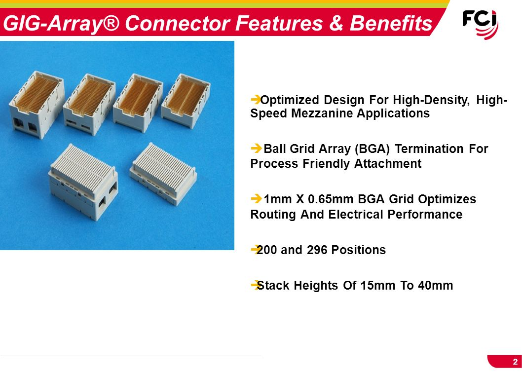 GIG-Array® Connector Features & Benefits
