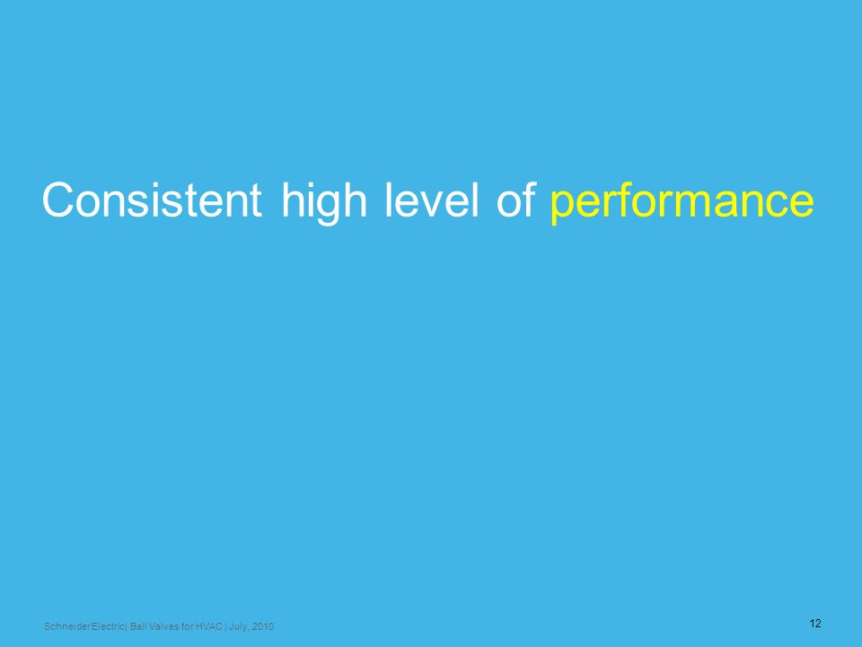 Consistent high level of performance
