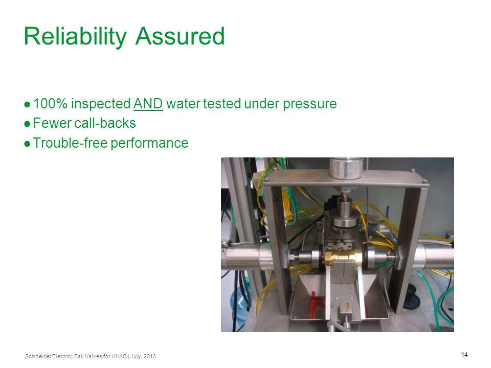 Reliability Assured 100% inspected AND water tested under pressure