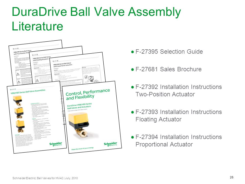 DuraDrive Ball Valve Assembly Literature