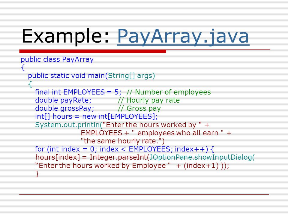 Example: PayArray.java