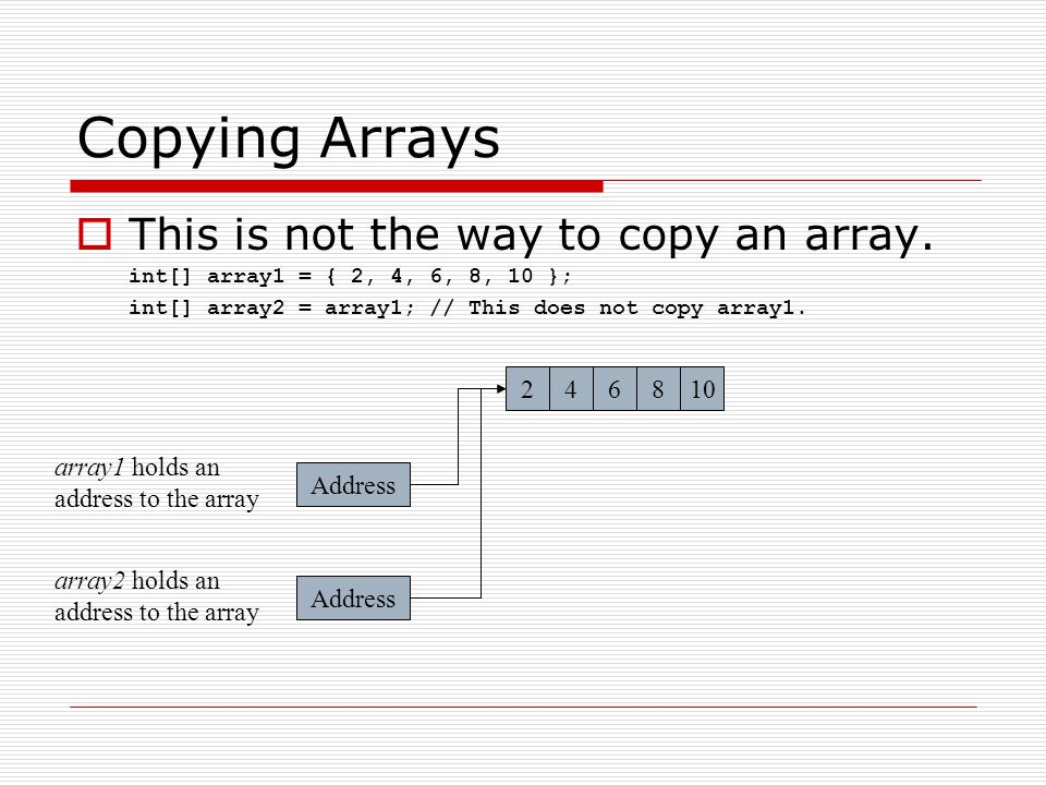 Copying Arrays This is not the way to copy an array. 2 4 6 8 10