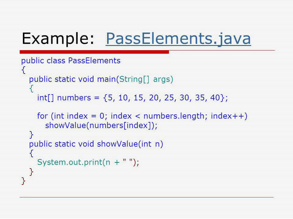Example: PassElements.java