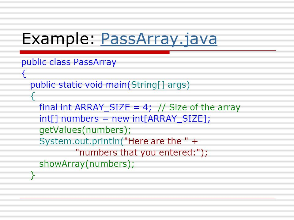 Example: PassArray.java