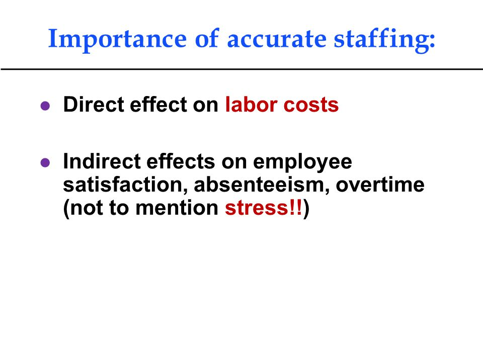 Importance of accurate staffing: