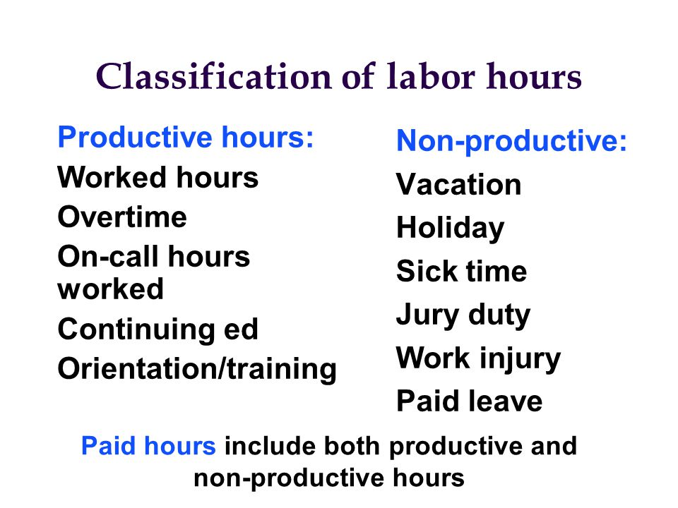 Classification of labor hours