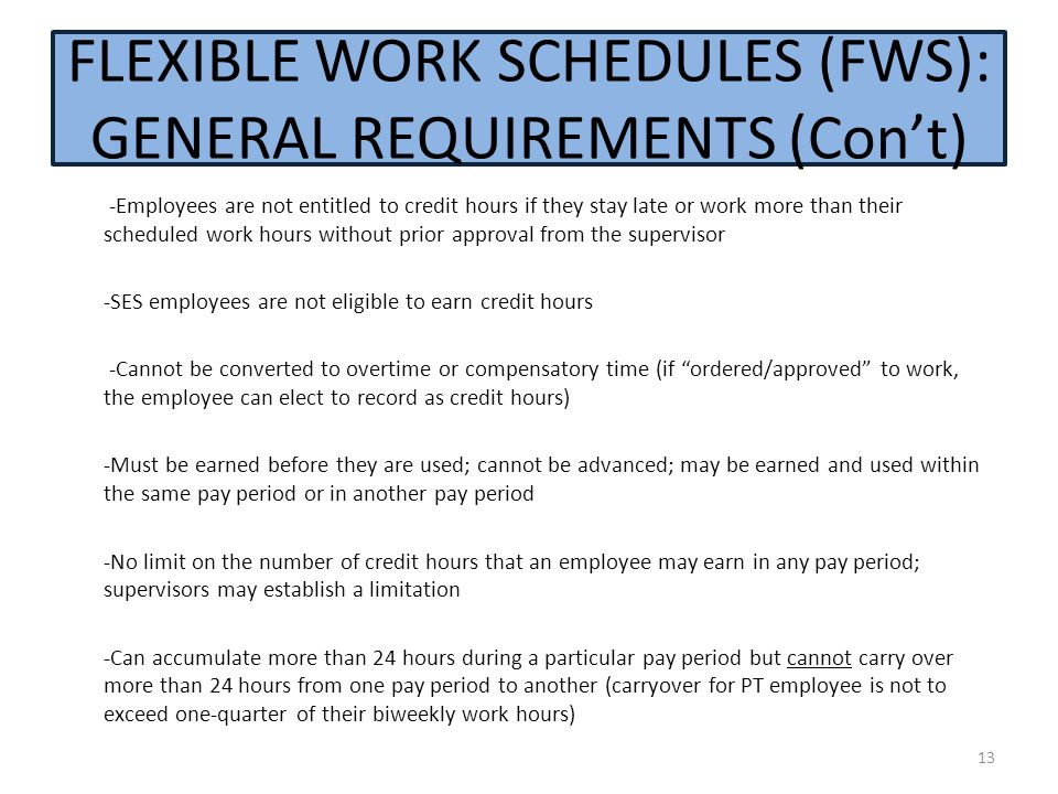 FLEXIBLE WORK SCHEDULES (FWS): GENERAL REQUIREMENTS (Con't)