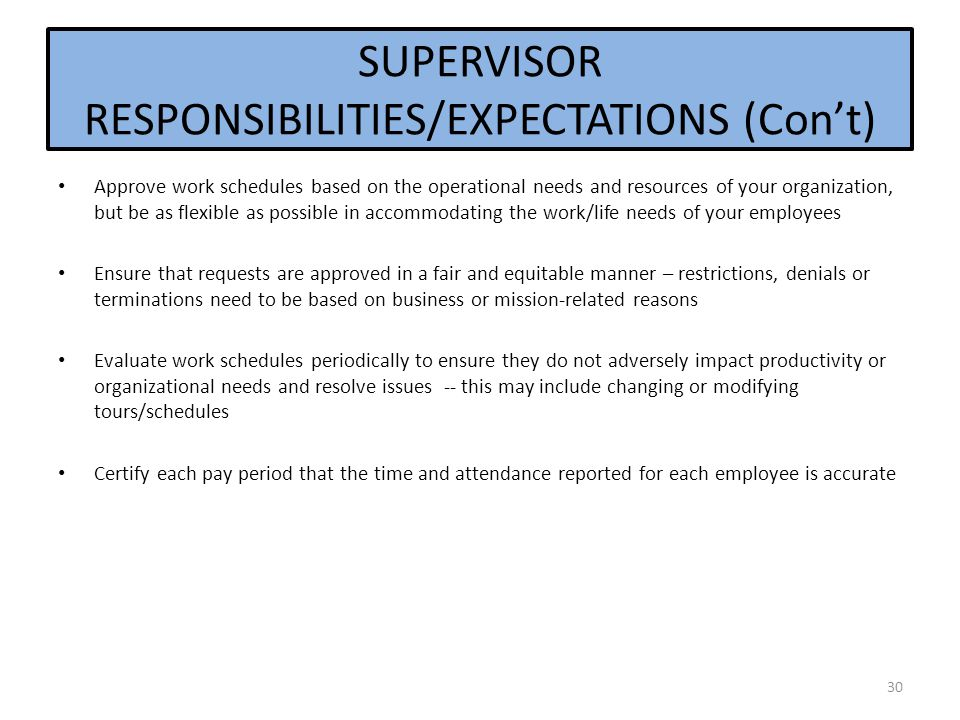 SUPERVISOR RESPONSIBILITIES/EXPECTATIONS (Con't)