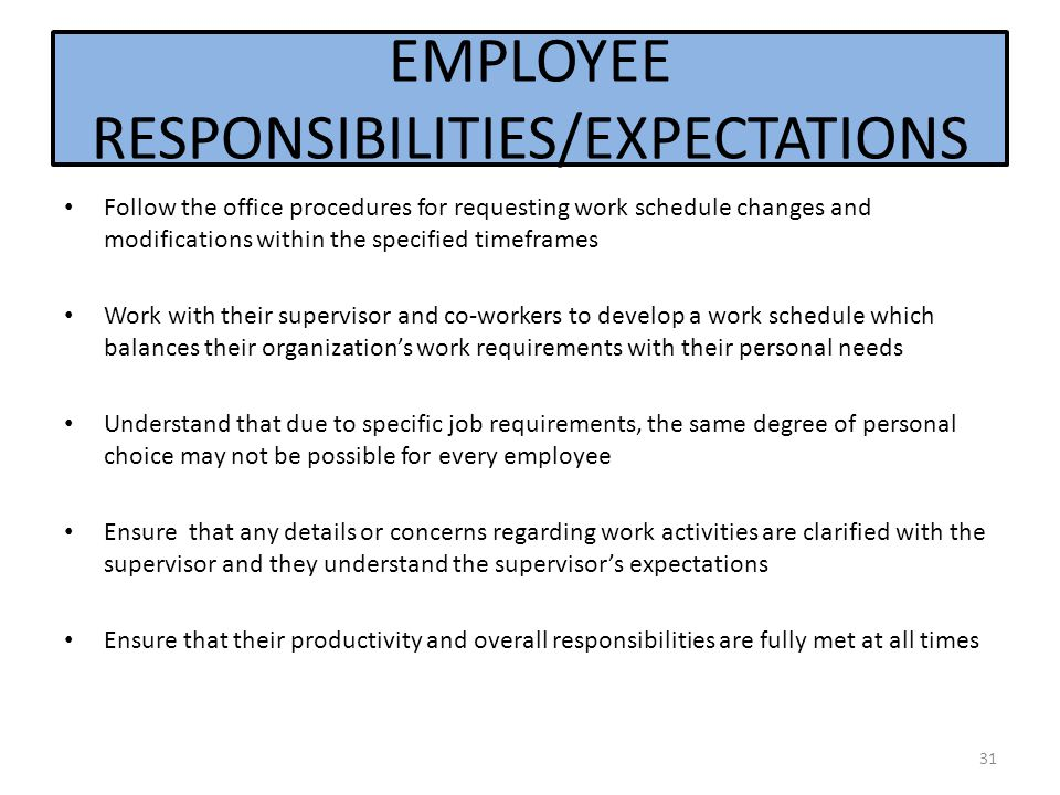 EMPLOYEE RESPONSIBILITIES/EXPECTATIONS