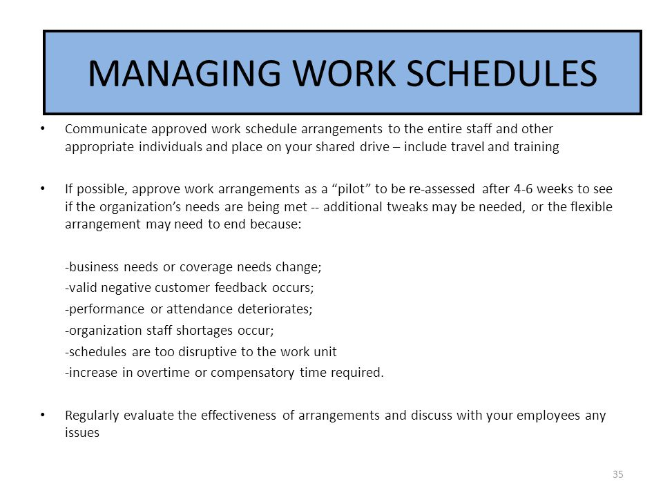 MANAGING WORK SCHEDULES
