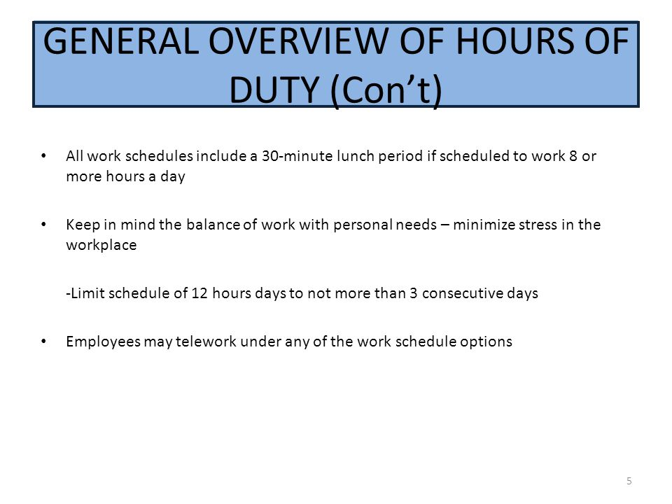 GENERAL OVERVIEW OF HOURS OF DUTY (Con't)