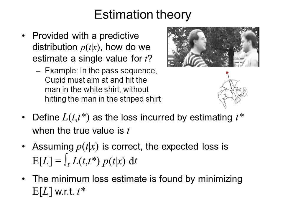 Estimation theory Provided with a predictive distribution p(t|x), how do we estimate a single value for t