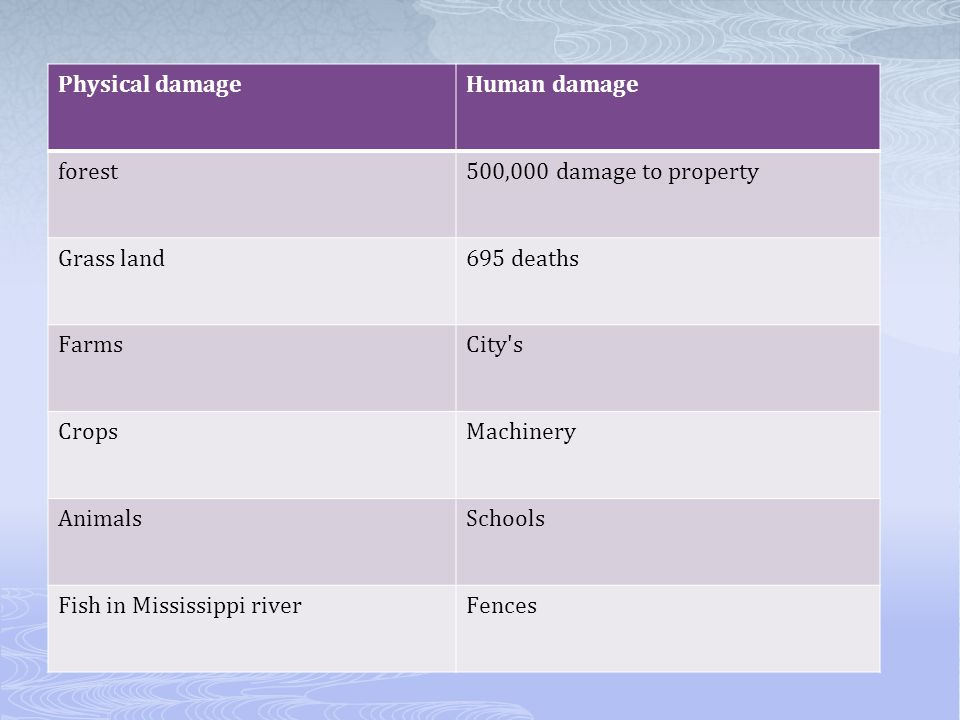 Physical damage Human damage. forest. 500,000 damage to property. Grass land. 695 deaths. Farms.