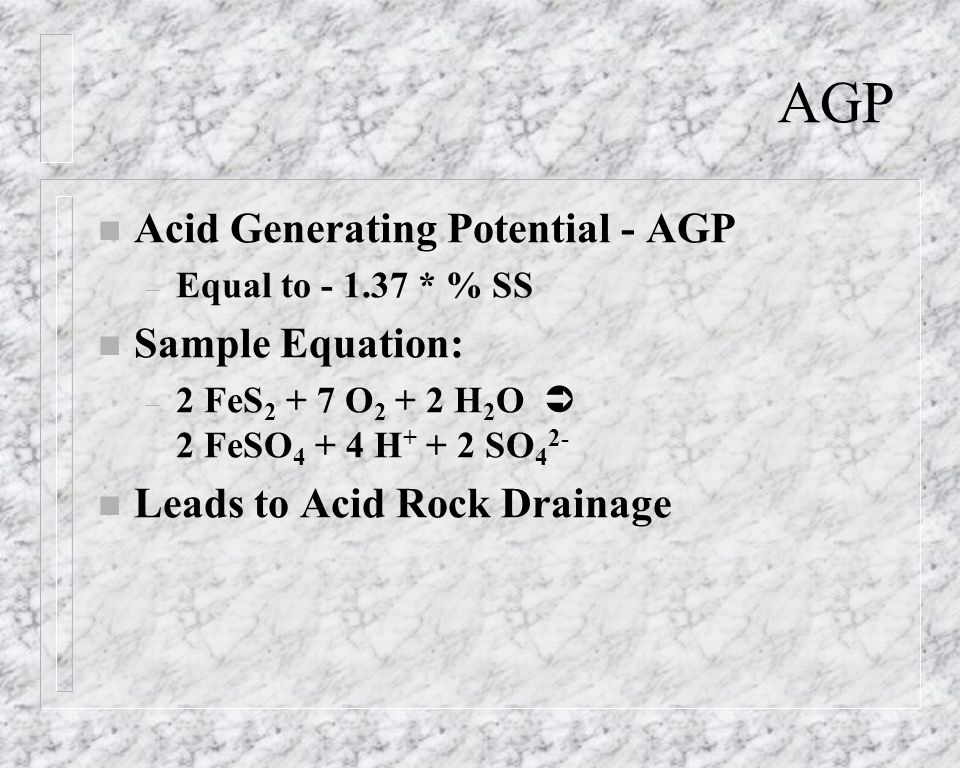 AGP Acid Generating Potential - AGP Sample Equation: