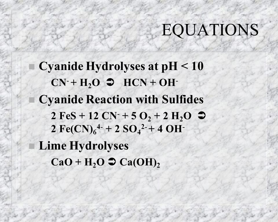EQUATIONS Cyanide Hydrolyses at pH < 10