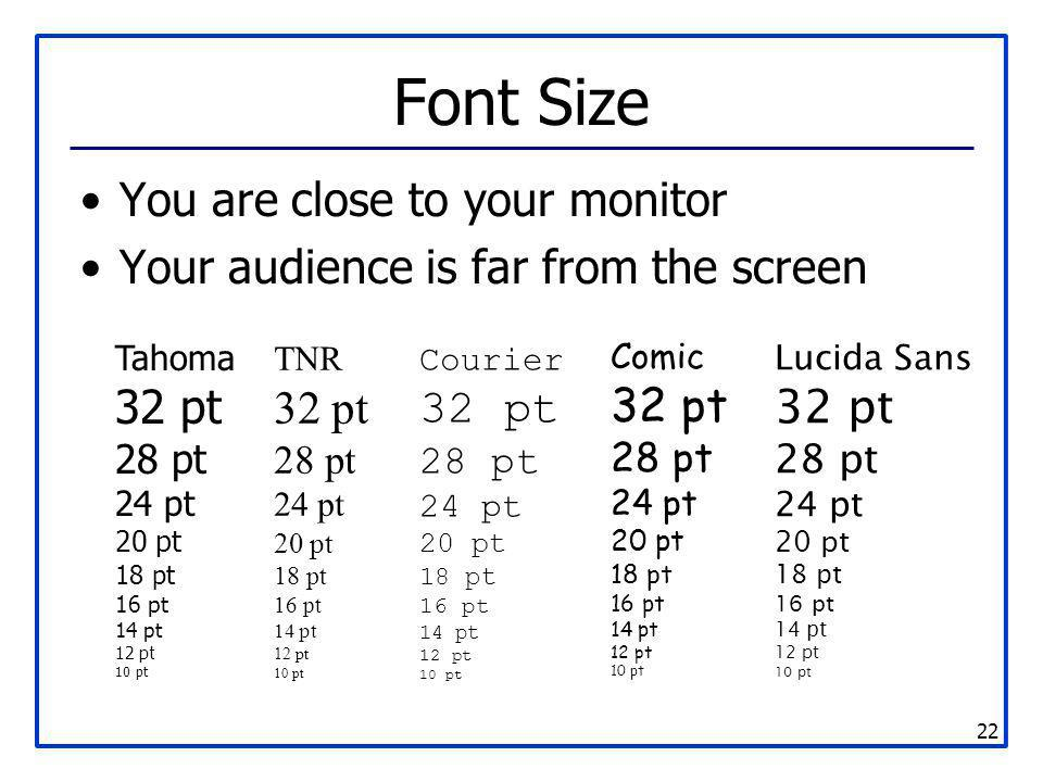Font Size You are close to your monitor