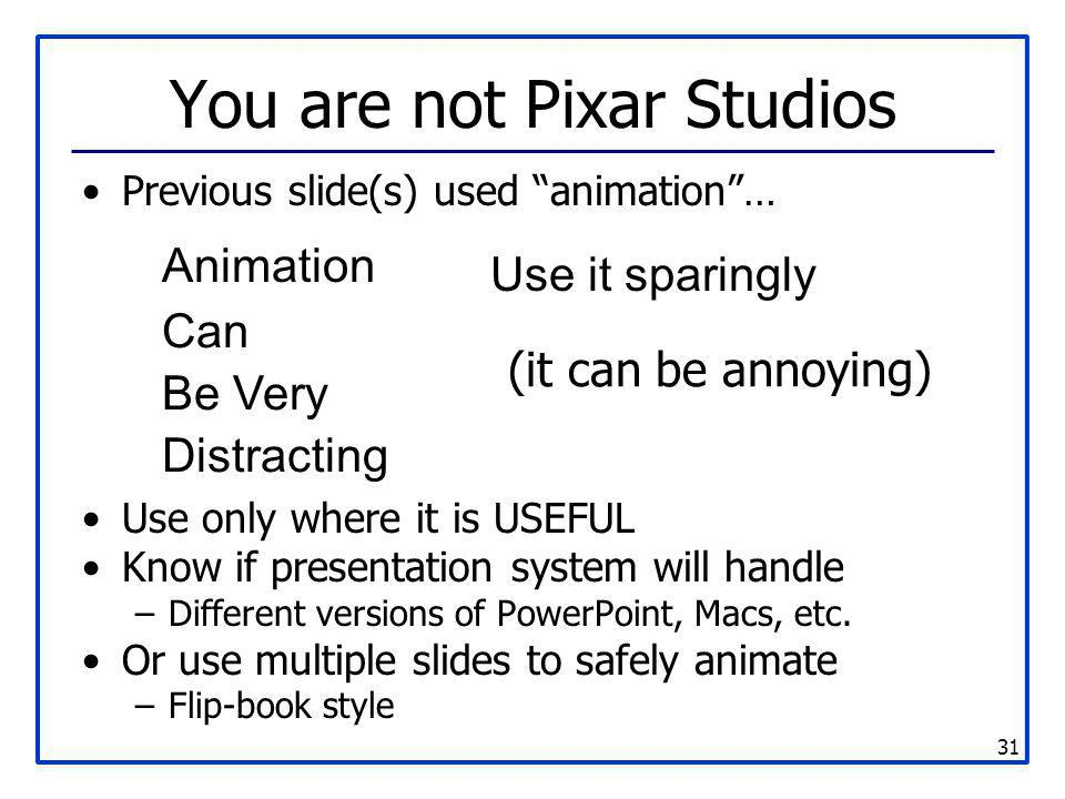 You are not Pixar Studios