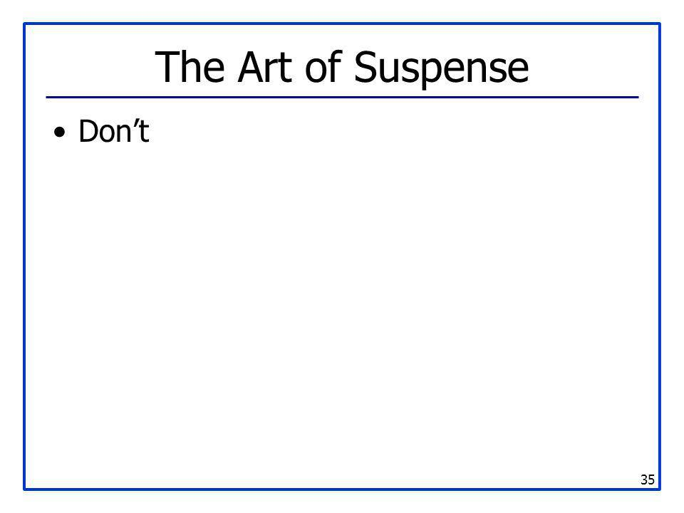 The Art of Suspense Don't