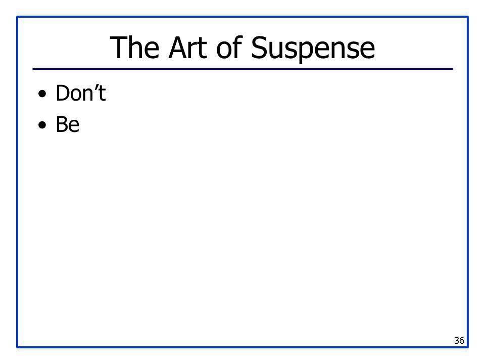 The Art of Suspense Don't Be