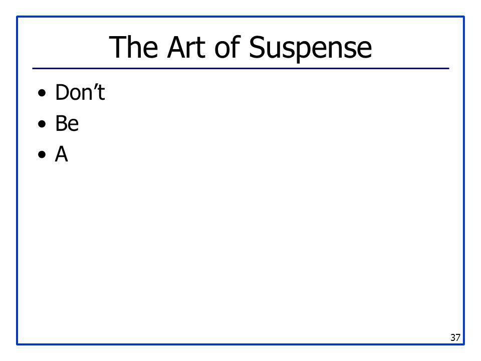 The Art of Suspense Don't Be A