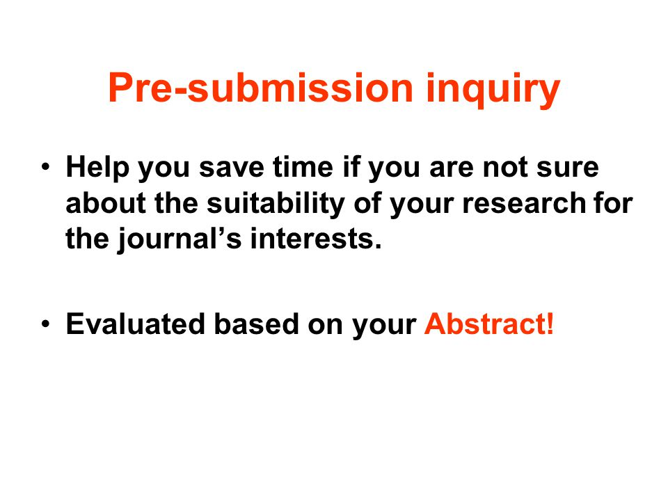 Pre-submission inquiry