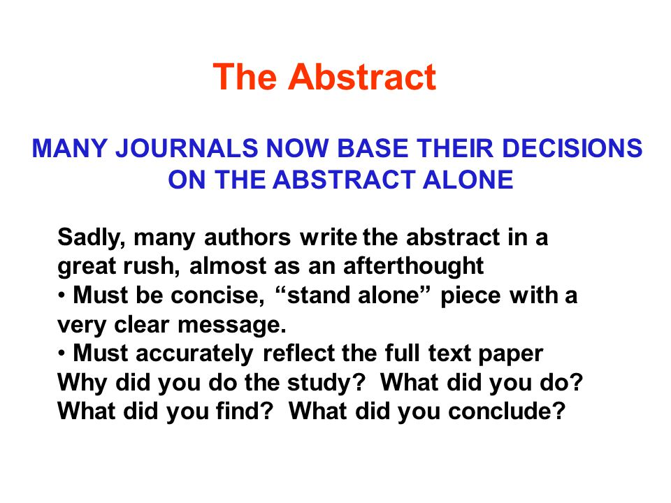 MANY JOURNALS NOW BASE THEIR DECISIONS