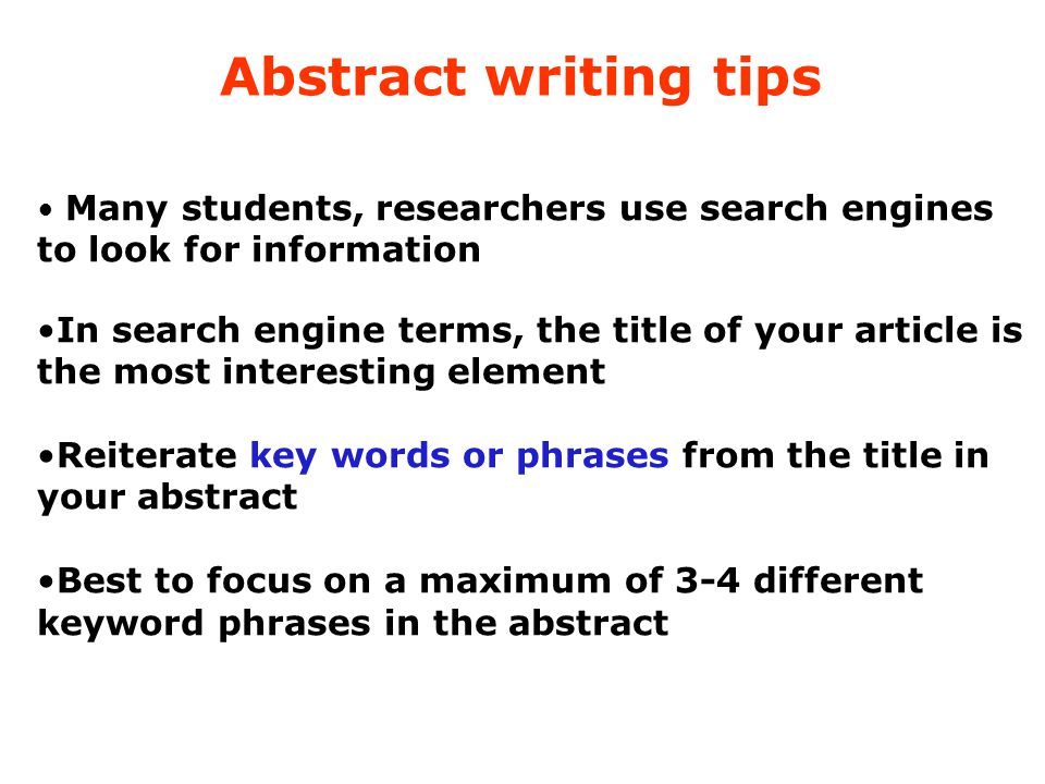Abstract writing tips to look for information