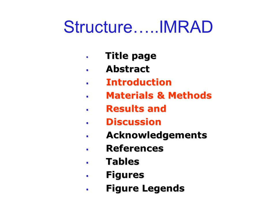 Structure…..IMRAD Abstract Introduction Materials & Methods