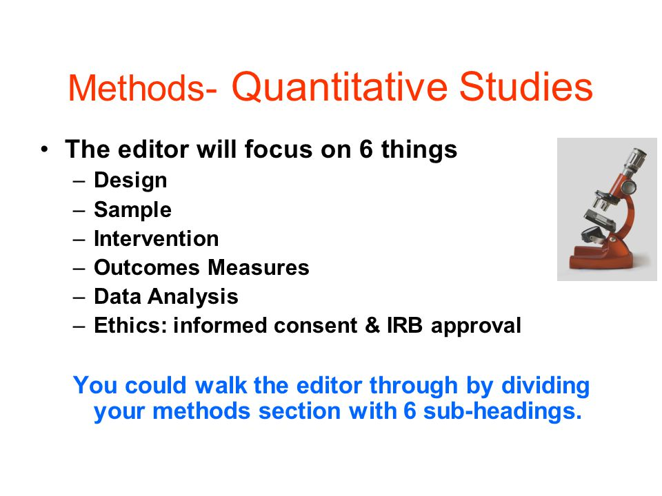 Methods- Quantitative Studies