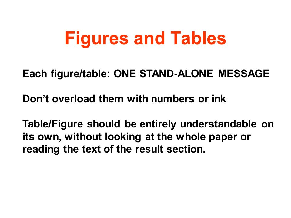 Figures and Tables Each figure/table: ONE STAND-ALONE MESSAGE