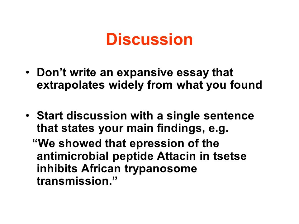 Discussion Don't write an expansive essay that extrapolates widely from what you found.