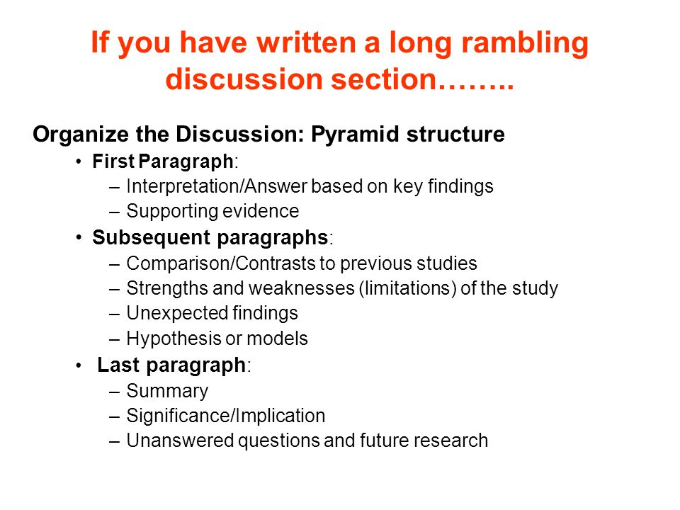 If you have written a long rambling discussion section……..