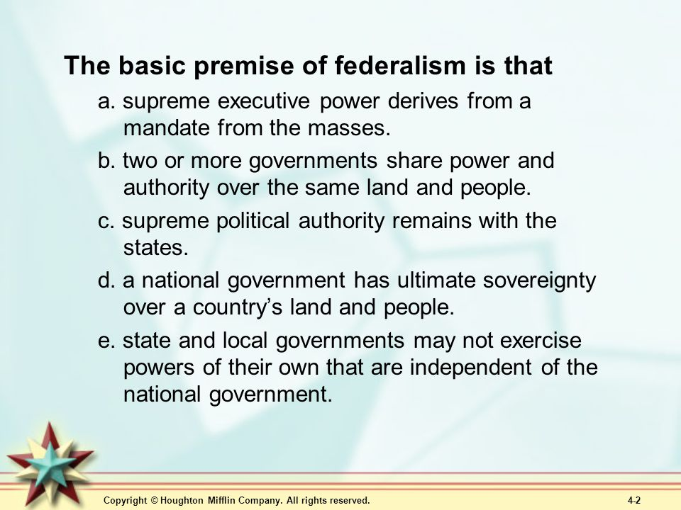 The basic premise of federalism is that
