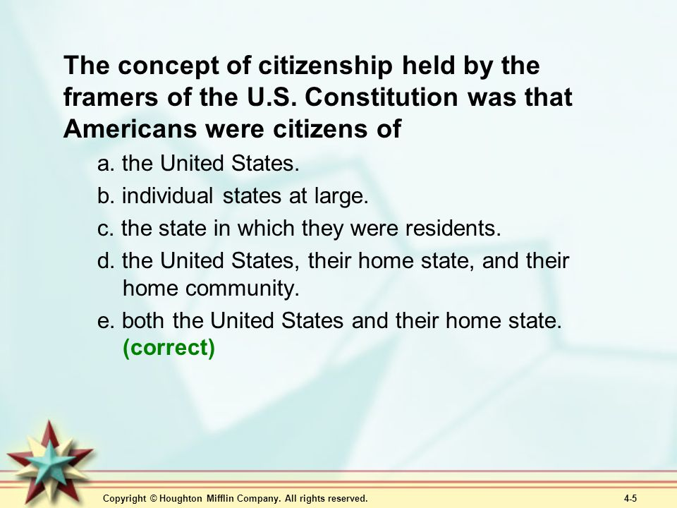 The concept of citizenship held by the framers of the U. S