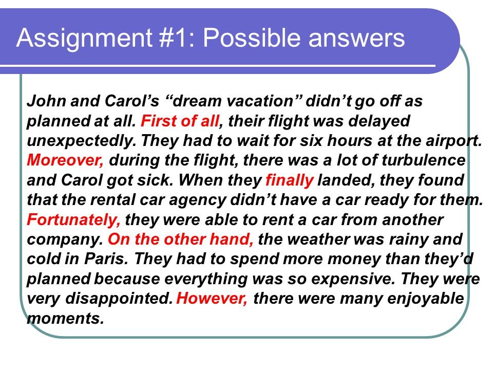 Assignment #1: Possible answers