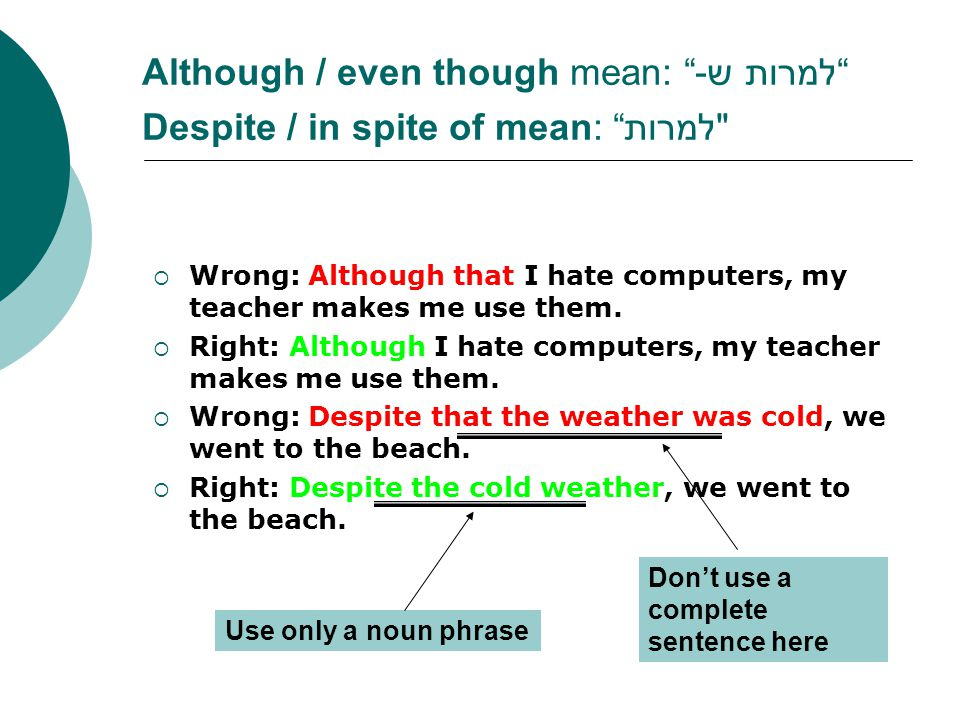 Although / even though mean: למרות ש- Despite / in spite of mean: למרות