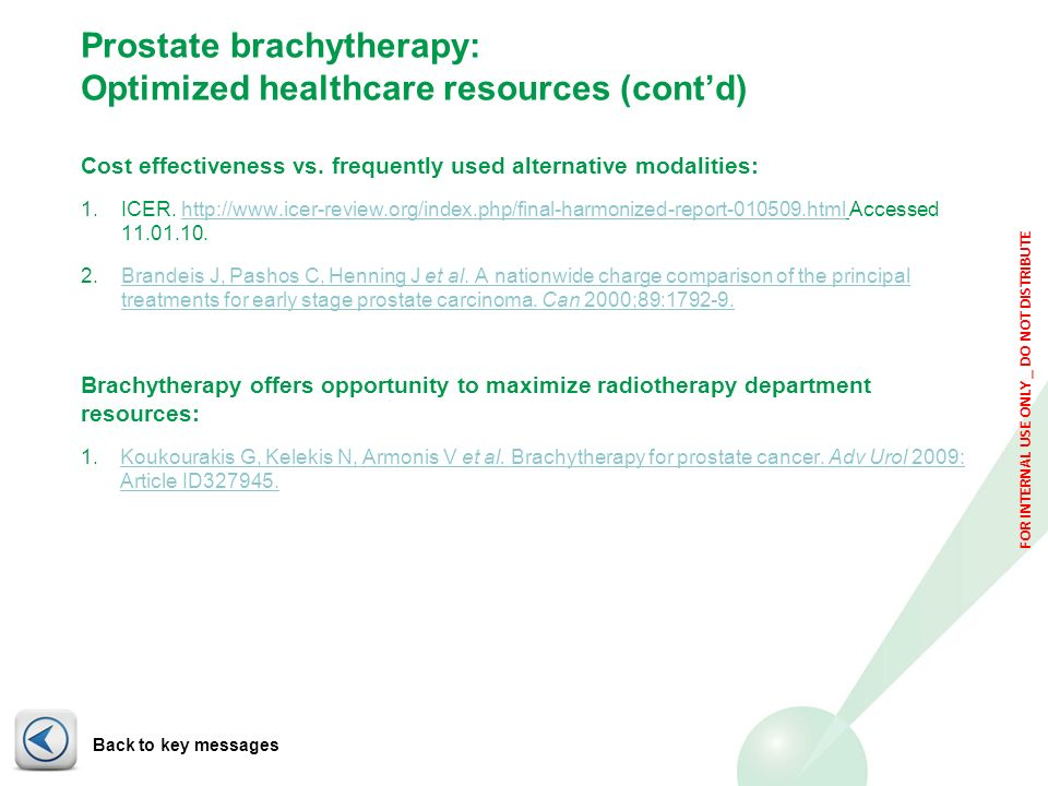 Prostate brachytherapy: Optimized healthcare resources (cont'd)