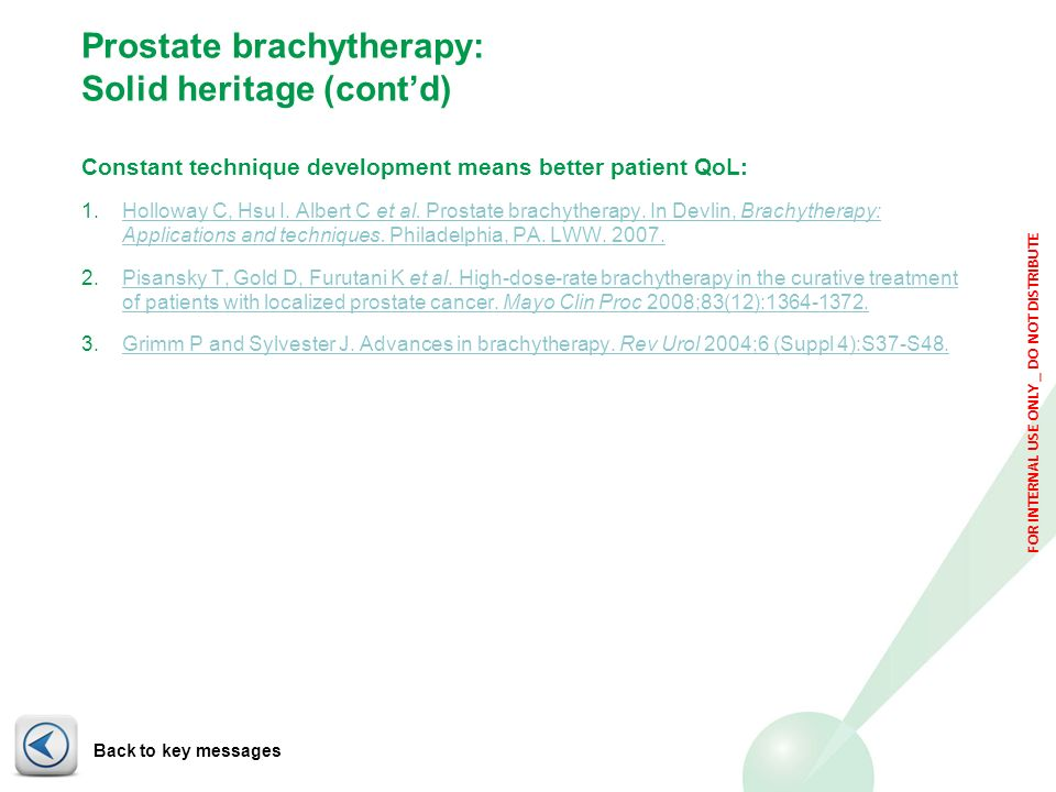 Prostate brachytherapy: Solid heritage (cont'd)