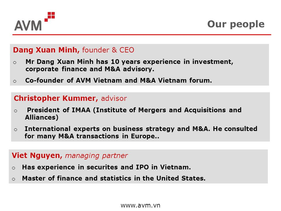 Our people Dang Xuan Minh, founder & CEO Christopher Kummer, advisor