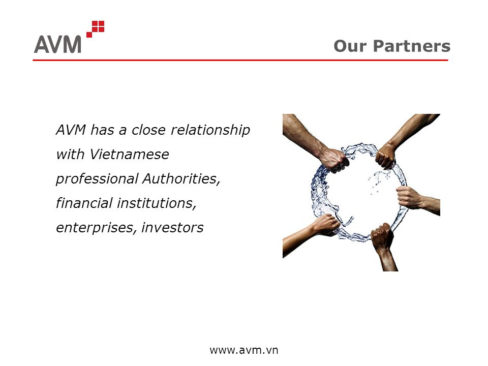 Our Partners AVM has a close relationship with Vietnamese professional Authorities, financial institutions, enterprises, investors.