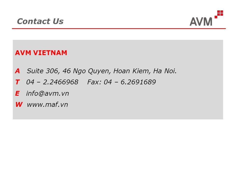 Contact Us AVM VIETNAM A Suite 306, 46 Ngo Quyen, Hoan Kiem, Ha Noi.