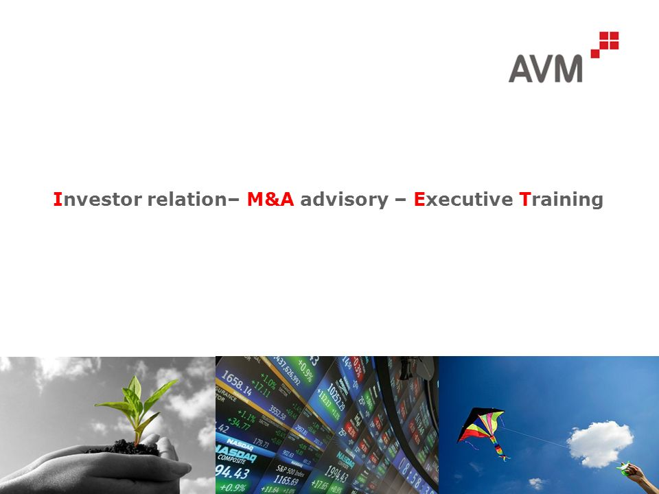Investor relation– M&A advisory – Executive Training