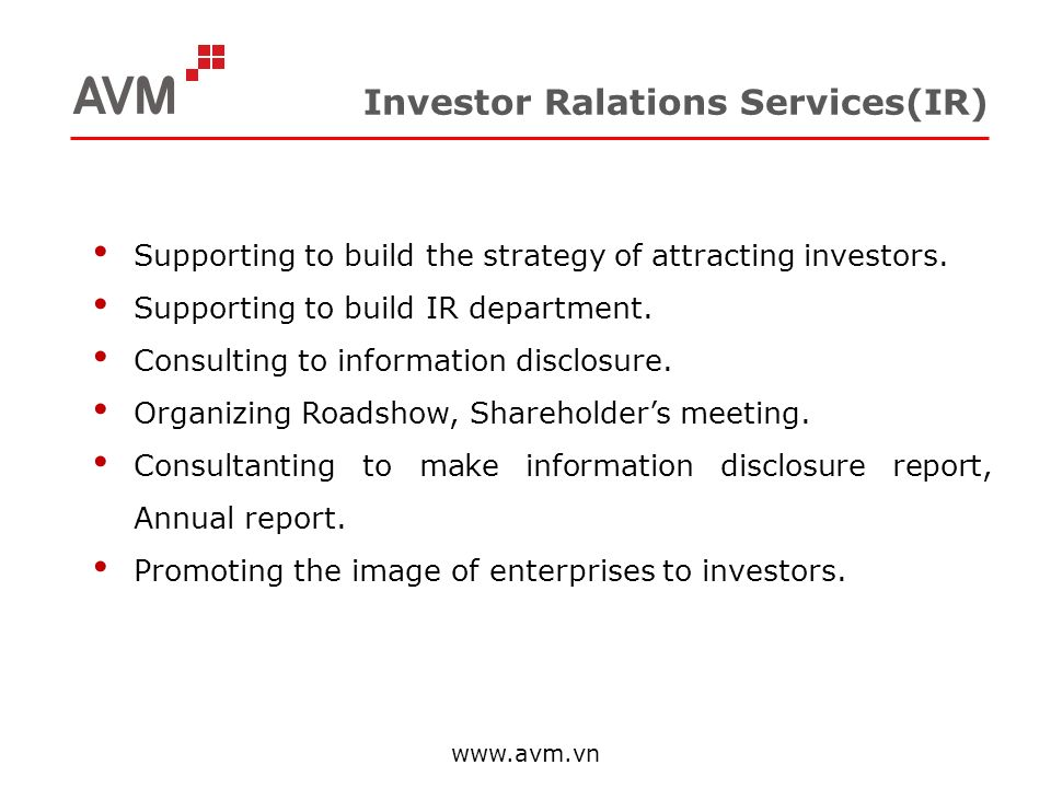 Investor Ralations Services(IR)