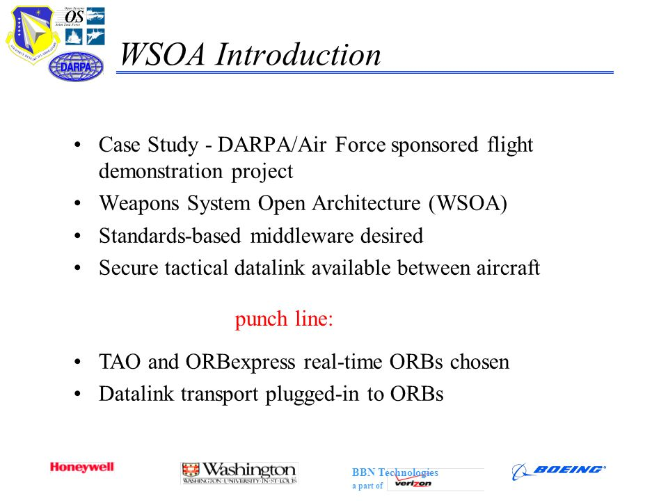 WSOA Introduction Case Study - DARPA/Air Force sponsored flight demonstration project. Weapons System Open Architecture (WSOA)