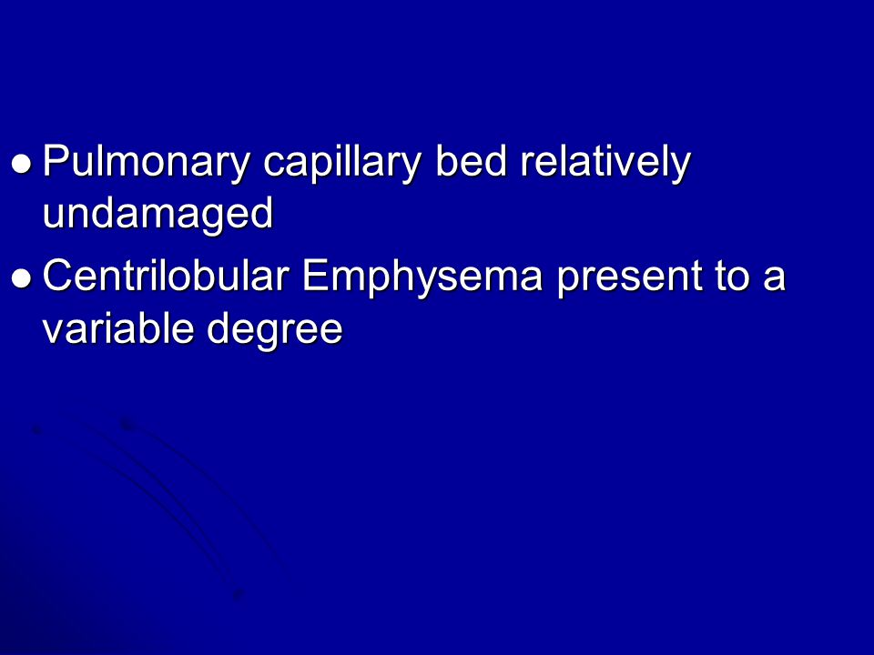 Pulmonary capillary bed relatively undamaged