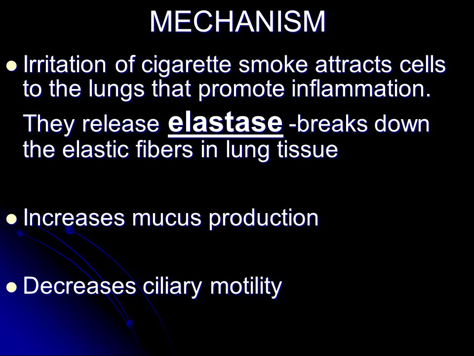 MECHANISM Irritation of cigarette smoke attracts cells to the lungs that promote inflammation.