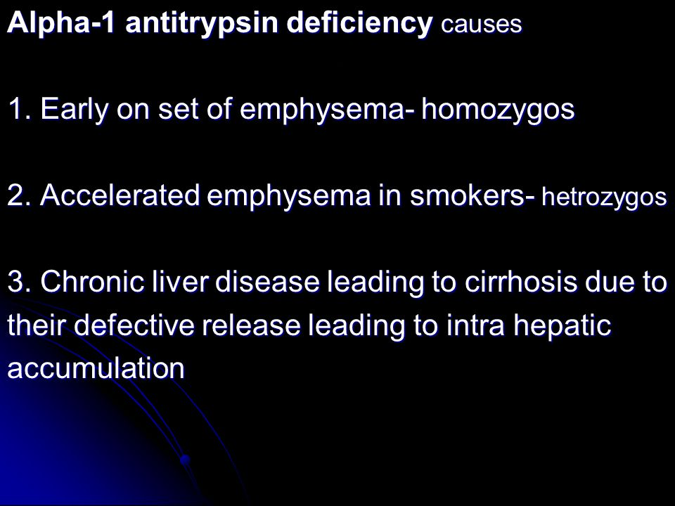 Alpha-1 antitrypsin deficiency causes