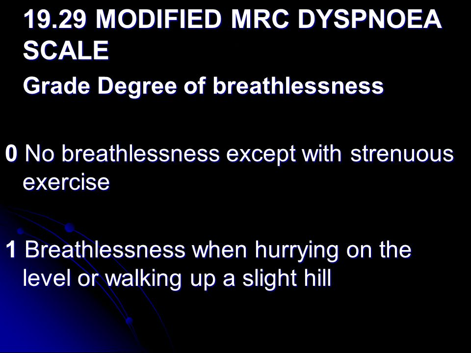 0 No breathlessness except with strenuous exercise